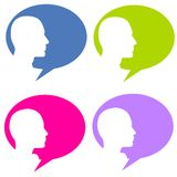 Silhouette Head Talk Bubbles Royalty Free Stock Photography