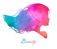 Silhouette head with watercolor hair.Vector illustration of woma Stock Photo