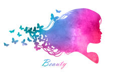 Silhouette head with watercolor hair Stock Images
