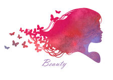 Silhouette head with watercolor hair. Vector illustration of woman beauty salon