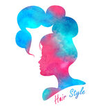 Silhouette head with watercolor hair.Vector illustration of woman beauty salon Royalty Free Stock Photo