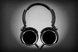 Silhouette  of Headphones. Image of a set of headphones shot in a silhouette type fashion Royalty Free Stock Photo