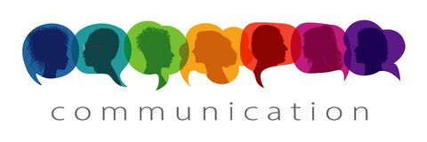 Free Silhouette Heads People In Profile Inside Speech Bubble Talking And Communicating. Communication Text. Communicate And Share Ideas Royalty Free Stock Images - 187866709