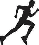 Silhouette of a healthy man running. Vector illustration Royalty Free Stock Photos