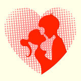 Silhouette of the heart, boys and girls. Silhouette of two lovers boy and girl on a background of red hearts with holes Royalty Free Stock Images