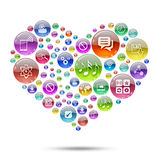 Silhouette heart consisting of apps icons Stock Image