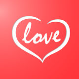 Silhouette of heart cut out of red paper. With text and over white substrate Stock Photos