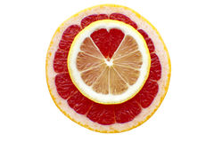 Silhouette of heart from a lemon and a grapefruit Stock Photo