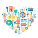 Silhouette heart with musical instruments Stock Photos