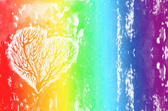 The silhouette of a heart with the trees inside, rainbow watercolor background. Сolour of the rainbow Royalty Free Stock Photo
