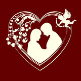 Silhouette hearts and couple in love Royalty Free Stock Photos