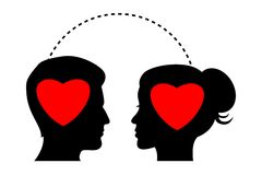 Silhouette with hearts in their mind Royalty Free Stock Image