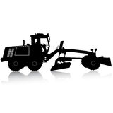 Silhouette of a heavy road grader. Vector illustration. Royalty Free Stock Images