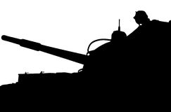 Silhouette of heavy tank  production of the USSR Royalty Free Stock Photo