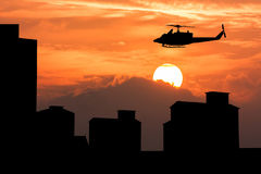 Silhouette of helicopter Royalty Free Stock Images