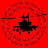 Silhouette of a helicopter in the sight of the rocket launcher Stock Photography