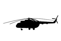 Silhouette of the helicopter. Stock Photography