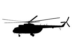 Silhouette of the helicopter. Stock Photos