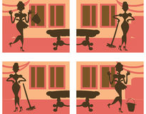 Silhouette Helpful Housewife background Royalty Free Stock Images