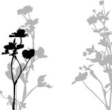 Silhouette of herbs and flowers Royalty Free Stock Photo