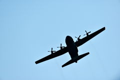 Silhouette of hercules transport plane Royalty Free Stock Photo