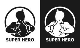 Super hero man opening his shirt vector icon stock photos
