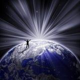 silhouette heureuse d'homme de la terre Photos libres de droits