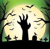 Silhouette heureuse de main de zombi de conception de Halloween - Photographie stock libre de droits