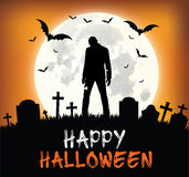 Silhouette heureuse de zombi de conception de Halloween - Photos stock