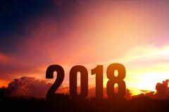 Silhouette heureuse pendant 2018 nouvelles années Images libres de droits