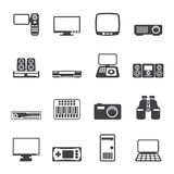 Silhouette Hi-tech equipment icons Royalty Free Stock Image