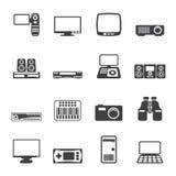 Silhouette Hi-tech equipment icons royalty free illustration