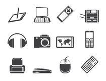 Silhouette Hi-tech technical equipment icons Stock Photos