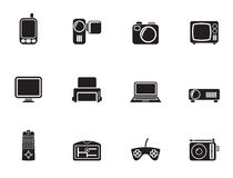 Silhouette Hi-tech technical equipment icons. Vector icon set Stock Image