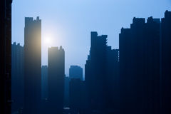 Silhouette of high buildings Stock Photography