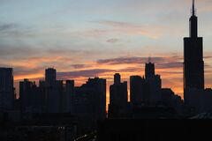 Silhouette of High Rise Buidlings Stock Photos