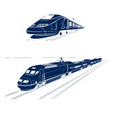 Silhouette of the high-speed passenger train Royalty Free Stock Photos