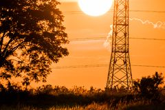 Silhouette of high voltage electrical pole structure. Silhouette of high voltage electrical pole structure Stock Image
