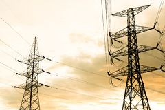 Silhouette of high voltage electrical pole structure. Silhouette of high voltage electrical pole structure Royalty Free Stock Image