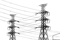 silhouette of high voltage electrical pole structure Royalty Free Stock Photos