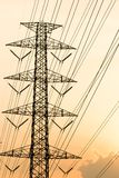 Silhouette of high voltage electrical pole structure. Silhouette of high voltage electrical pole structure Royalty Free Stock Photo