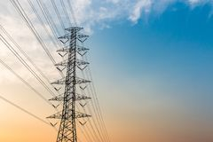 Silhouette of high voltage electrical pole structure. Silhouette of high voltage electrical pole structure Stock Photography
