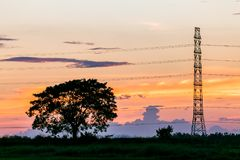 Silhouette of high voltage electrical pole structure. Silhouette of high voltage electrical pole structure Stock Photo