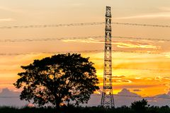 Silhouette of high voltage electrical pole structure. Silhouette of high voltage electrical pole structure Stock Photos