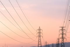 Silhouette of high voltage electrical pole structure. Silhouette of high voltage electrical pole structure Stock Images