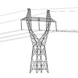 Silhouette of high voltage power lines Royalty Free Stock Photography