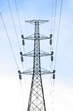 Silhouette of high voltage. Power lines royalty free stock image
