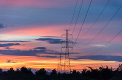 Silhouette of high voltage towers Stock Images