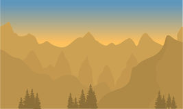 Silhouette of highlands with brown background. At sunset Stock Image