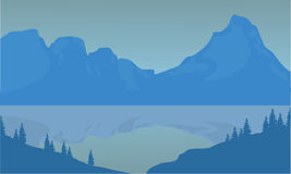 Silhouette of highlands and sea. With blue background Royalty Free Stock Image